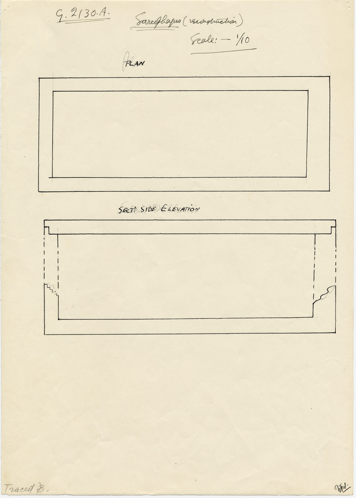 Drawings: G 2130, Shaft A: sarcophagus