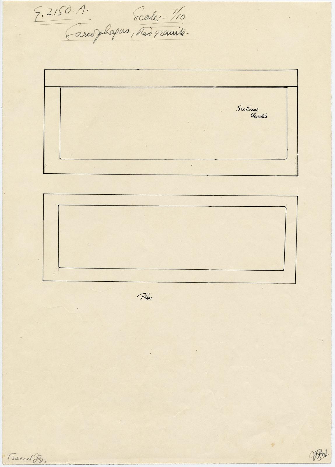 Drawings: G 2150, Shaft A: sarcophagus