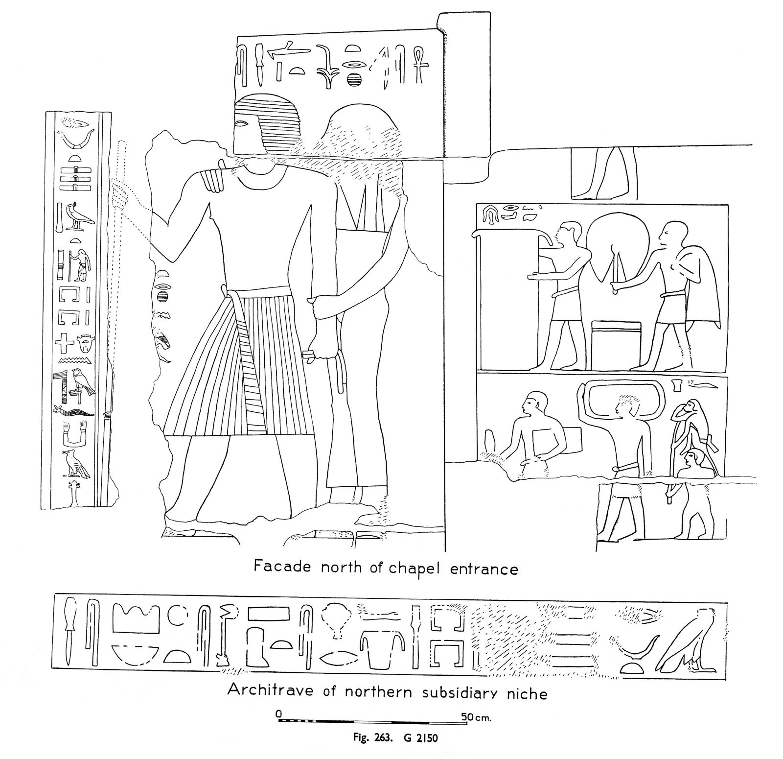 Drawings: G 2150: relief from facade, N of chapel entrance; and northern subsidiary niche, architrace