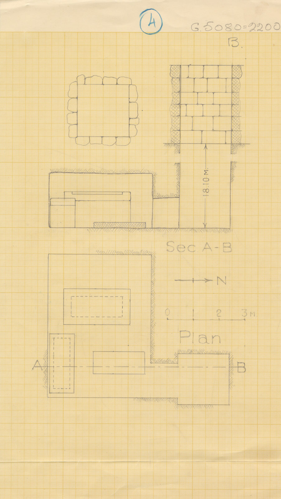 Maps and plans: G 2200, Plan and section