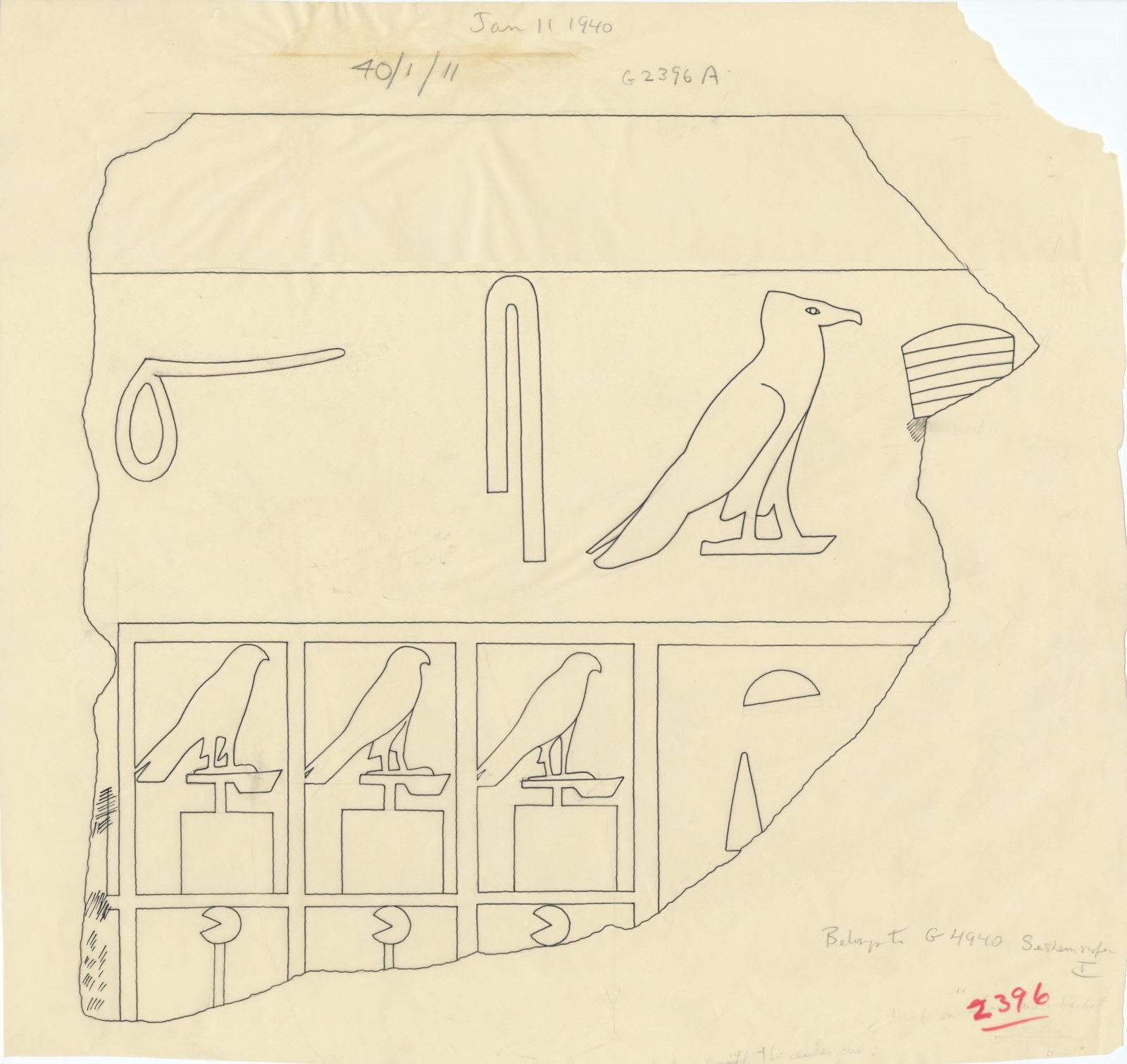 Drawings: G 4940: fragment of relief