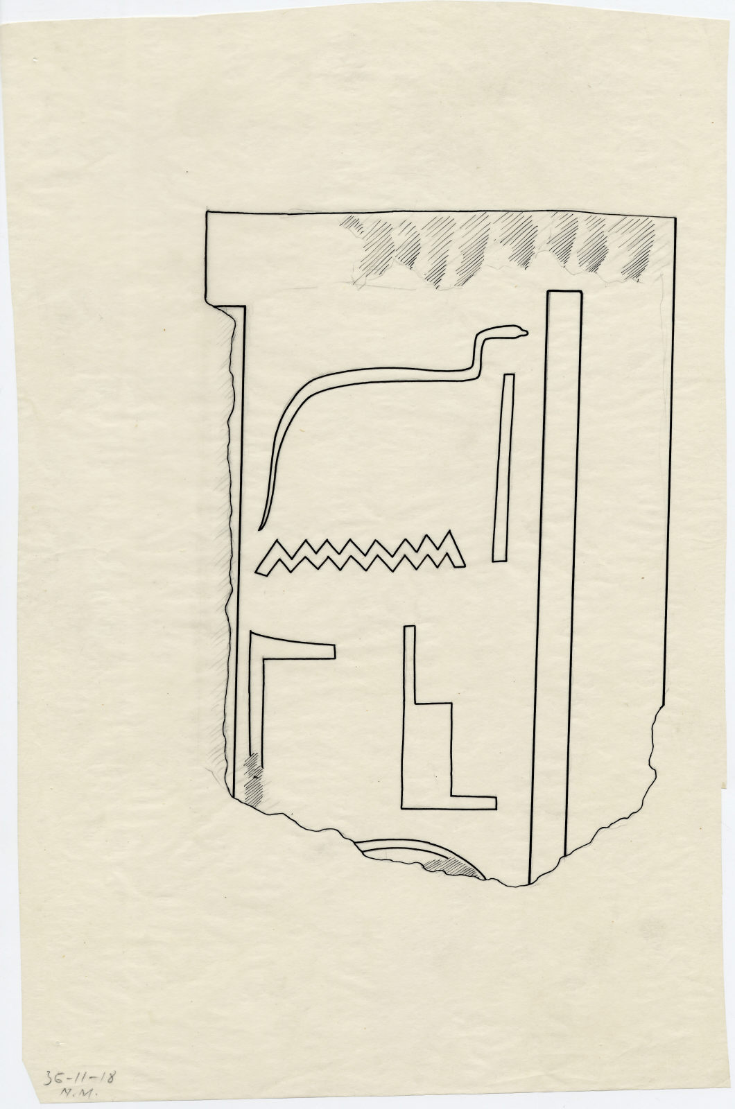 Drawings: Isis Temple: fragment of relief from G, chamber IV