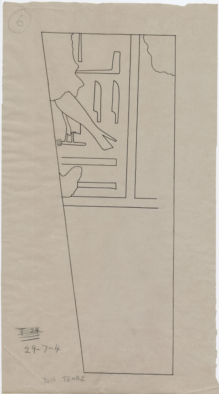 Drawings: Isis Temple: fragment of door jamb