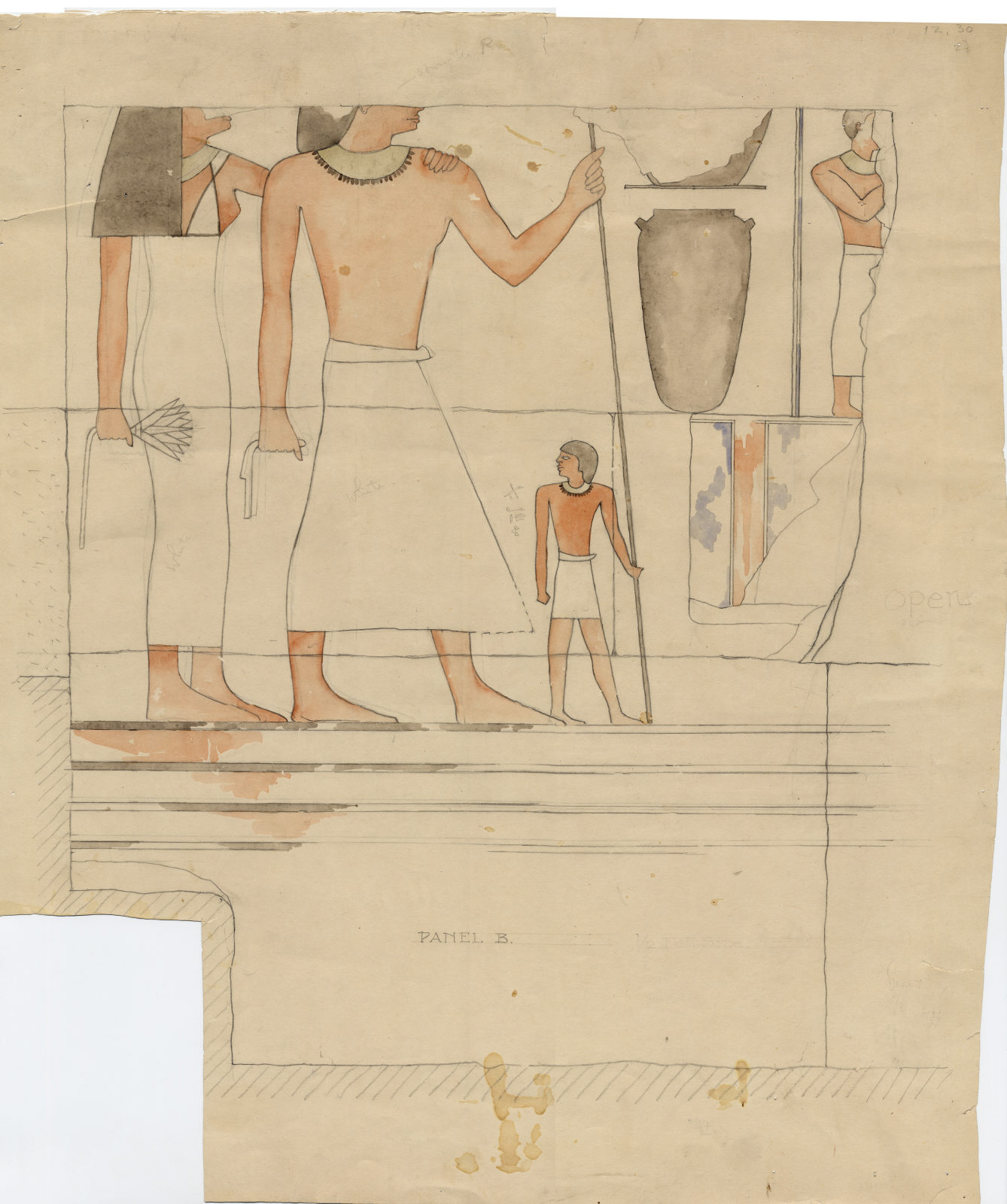 Drawings: Isis Temple: relief from room G, outer room, N wall, W end