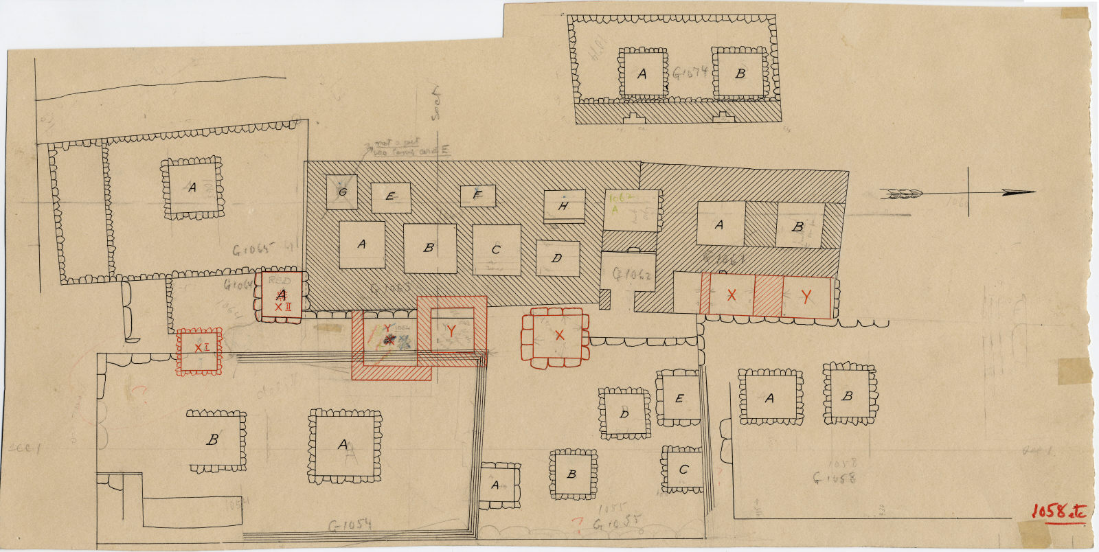Maps and plans: Plan of cemetery G 1000 (partial)