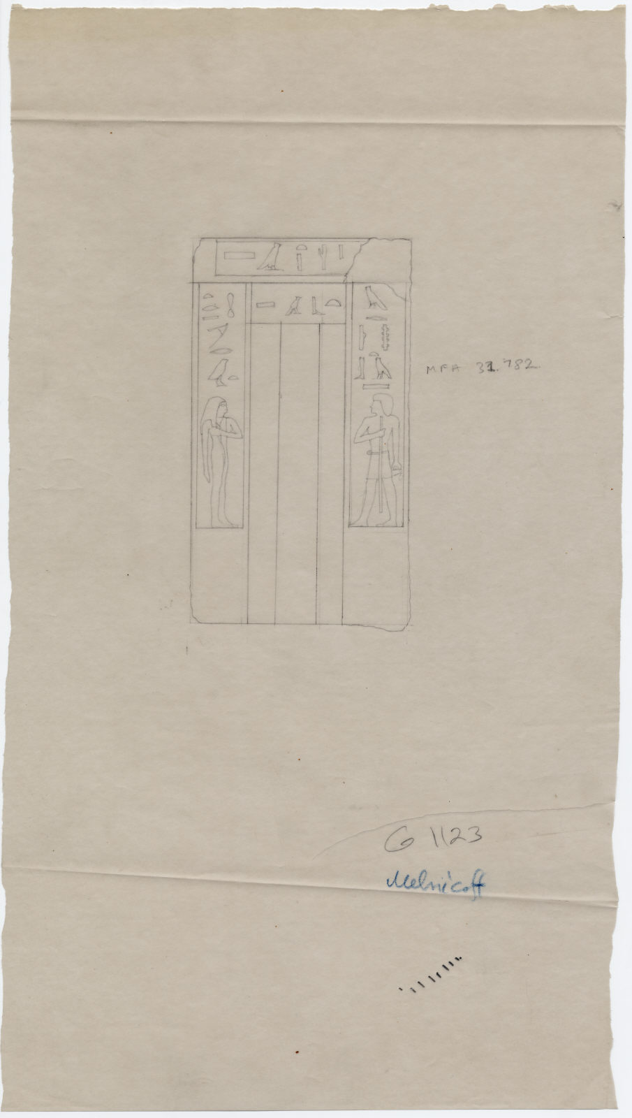 Drawings: G 1123: false door of Tebash and Merut