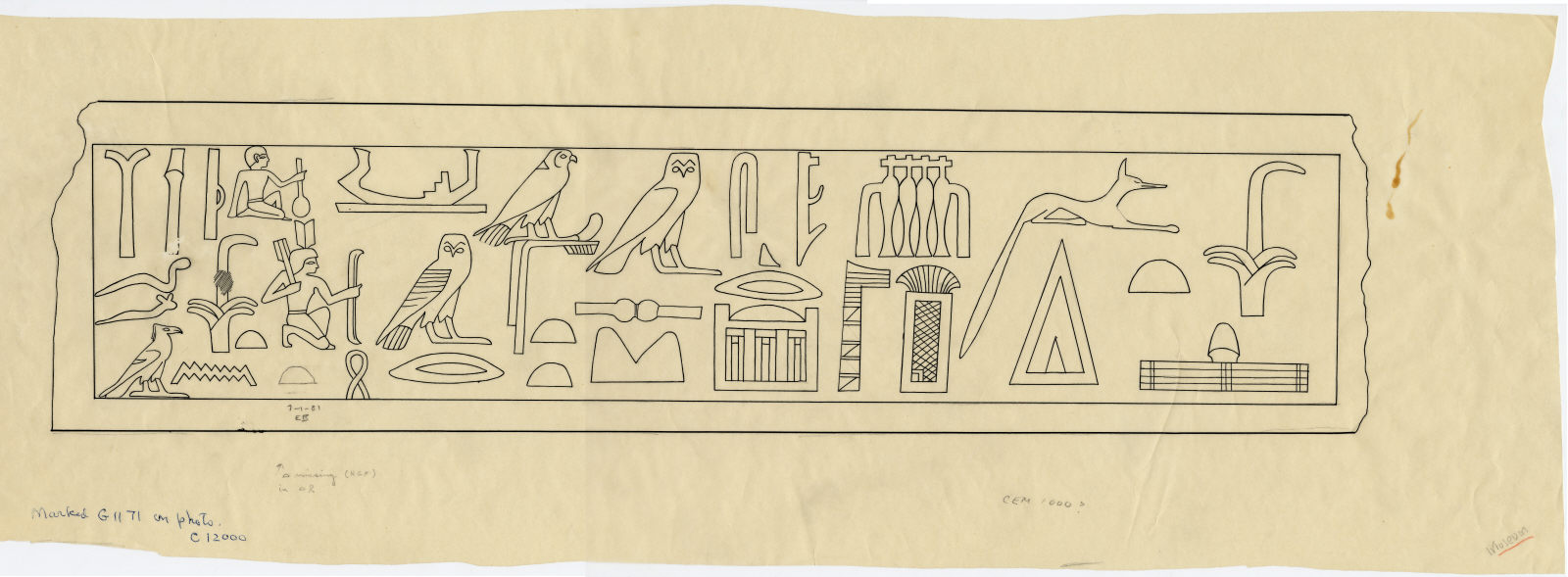Drawings: G 1171: relief from lintel