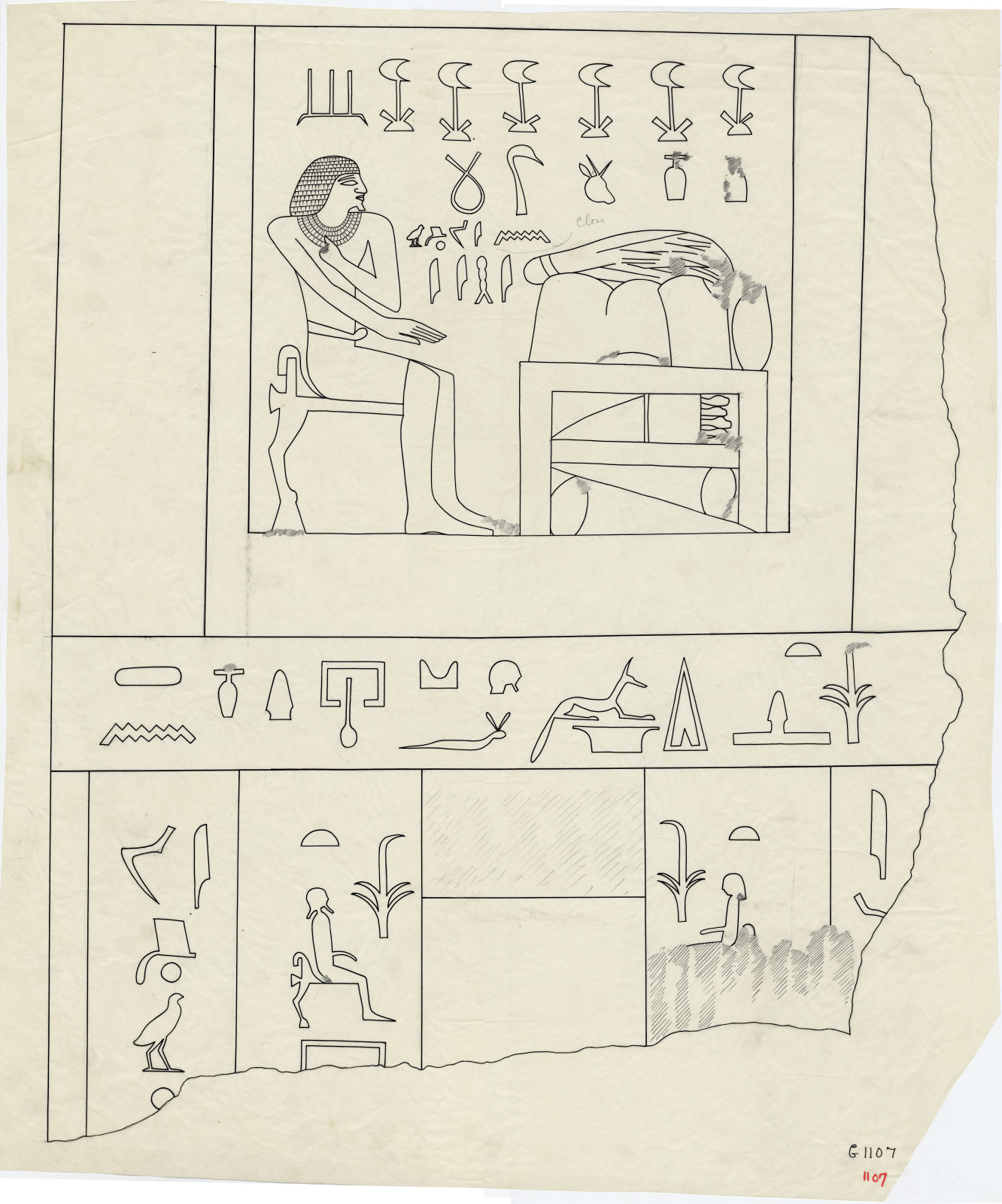 Drawings: G 1107: relief from false door of Ihy