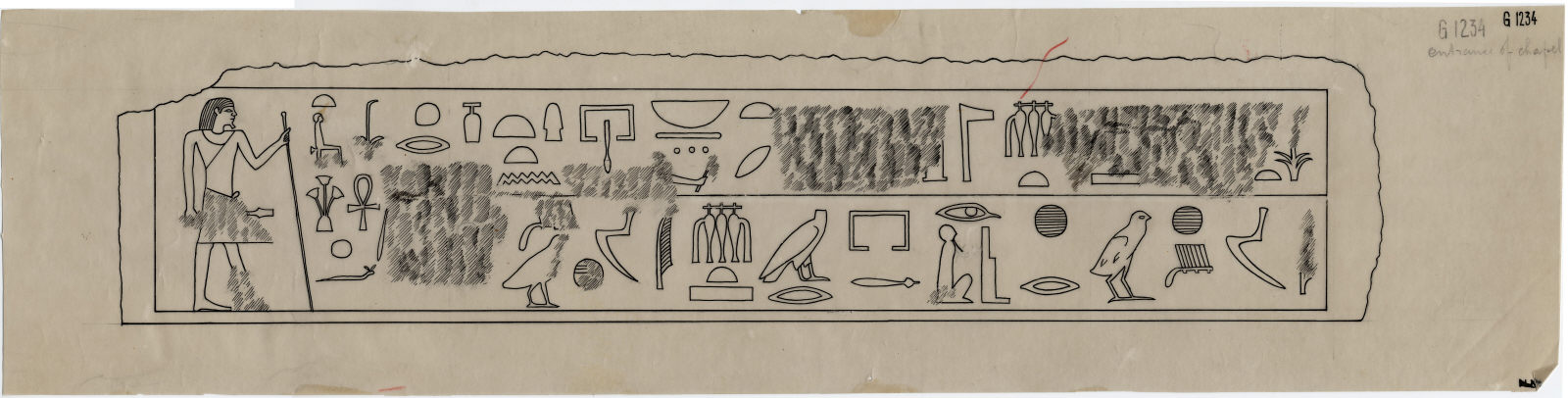 Drawings: G 1234: relief from chapel, entrance, lintel