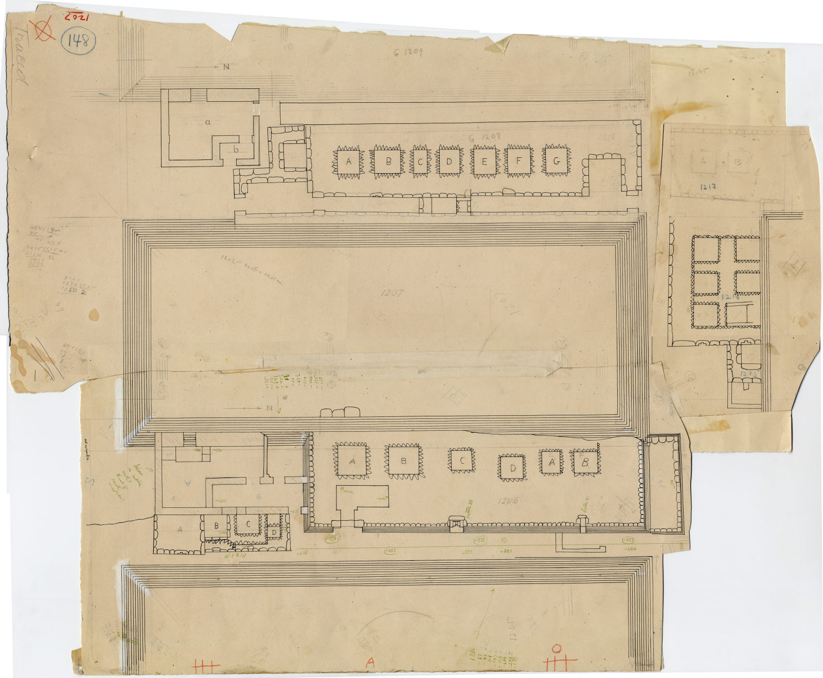 Maps and plans: Plan of G 1205, G 1206, G 1207, G 1208, G 1209, G 1210, G 1212, G 1213, G 1214, G 1215, G 1217