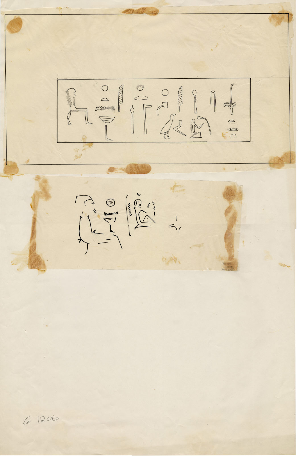 Drawings: G 1206: relief from drum lintel and offering chamber, W wall, black paint