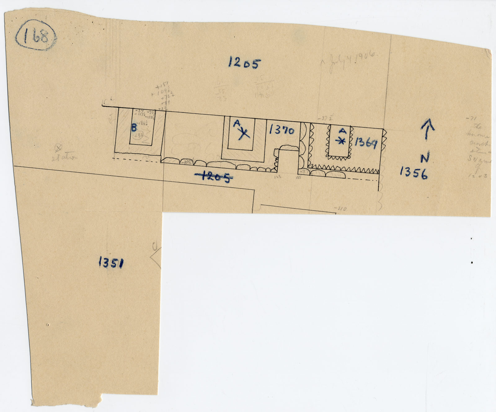 Maps and plans: Plan of G 1205, G 1351, G 1356, G 1369, G 1370
