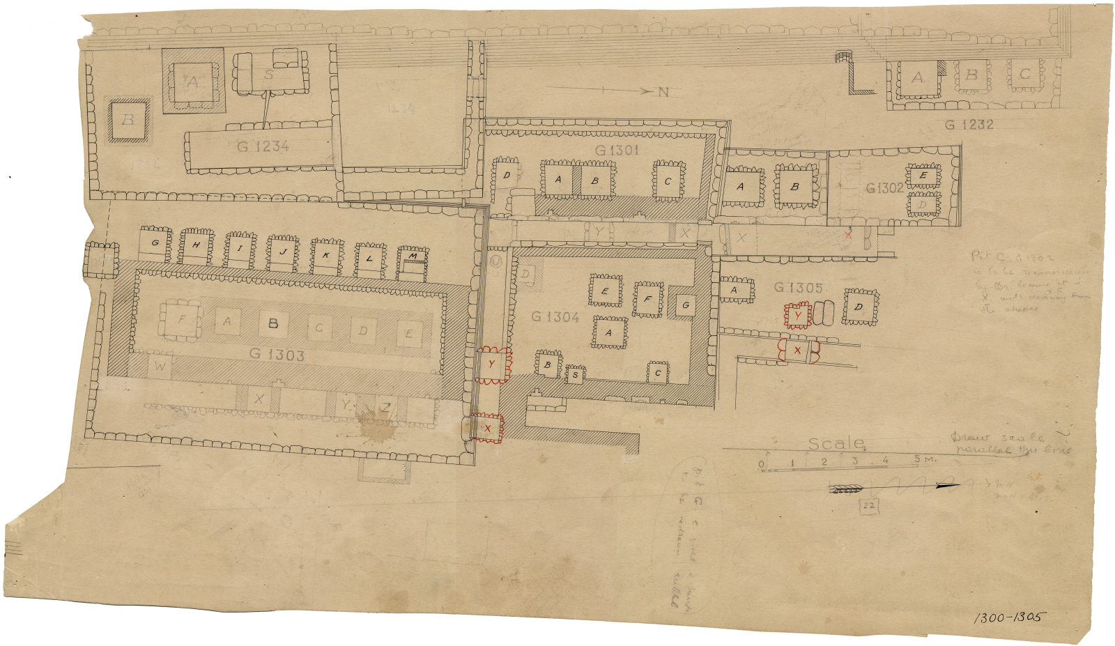 Maps and plans: Plan of G 1232, G 1234, G 1301, G 1302, G 1303, G 1304, G 1305