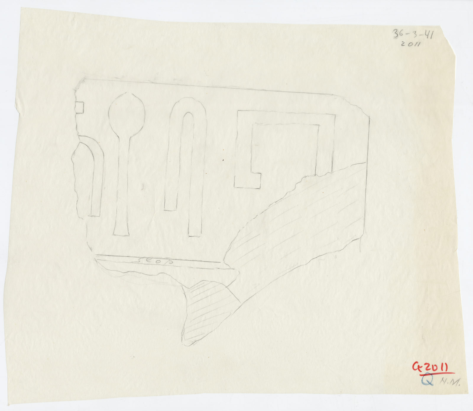 Drawings: G 2011: fragment of lintel (?)
