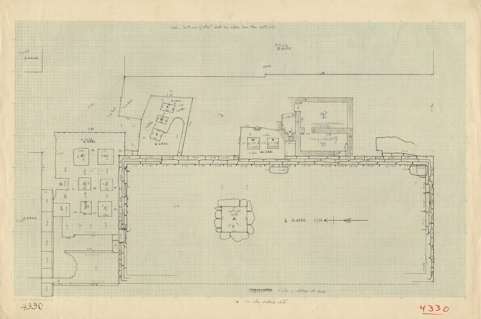Maps and plans: Plan of G 4330, with positions of G 4331, G 4332, G 4333, G 4340, G 4430, G 4440