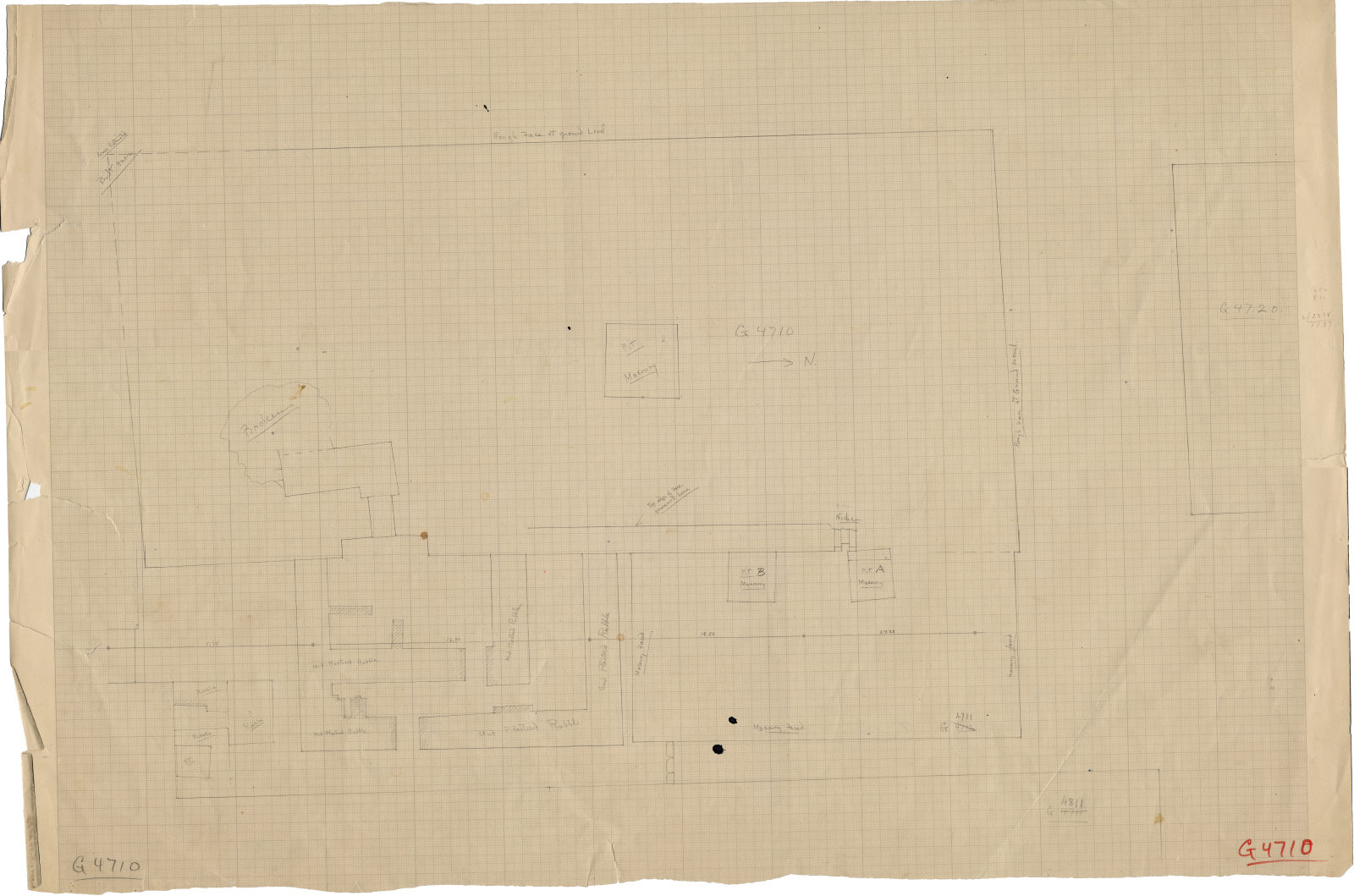 Maps and plans: Plan of G 4710, with positions of G 4711, G 4713, G 4720, G 4811+4812