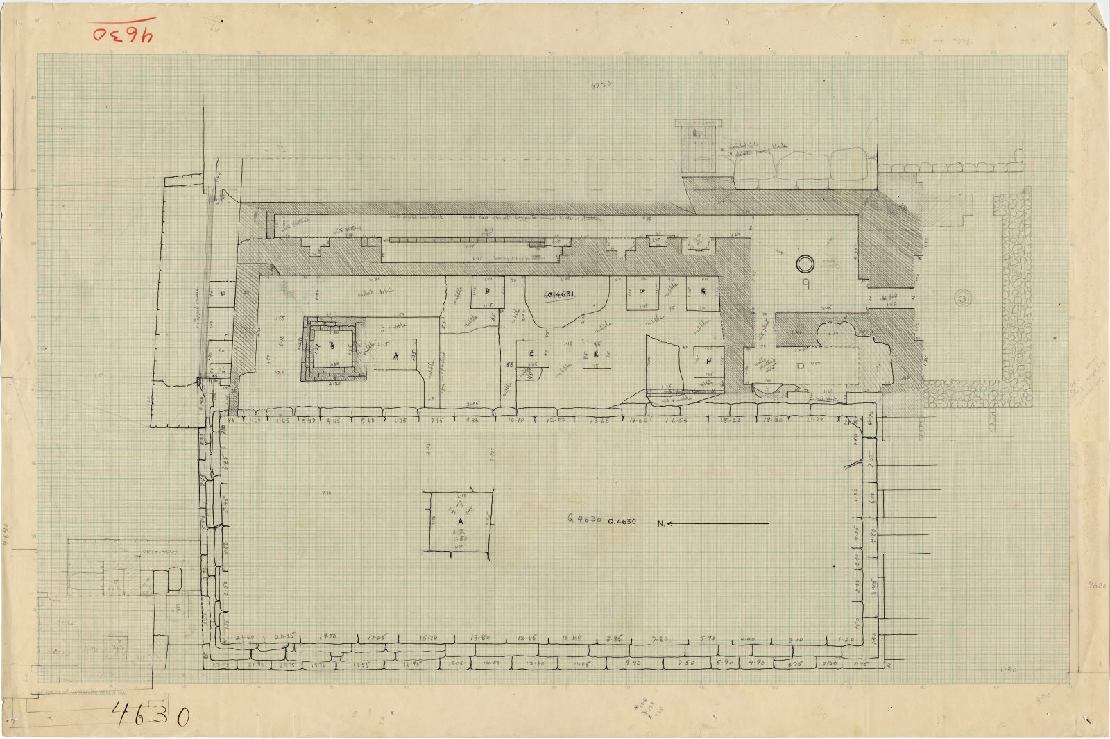 Maps and plans: Plan of G 4630, with positions of G 4631, G 4632, G 4633+4634, G 4730