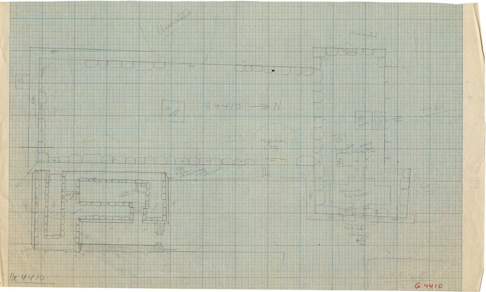 Maps and plans: Plan of G 4410, with positions of G 4411, G 4420, G 4510, G 4520