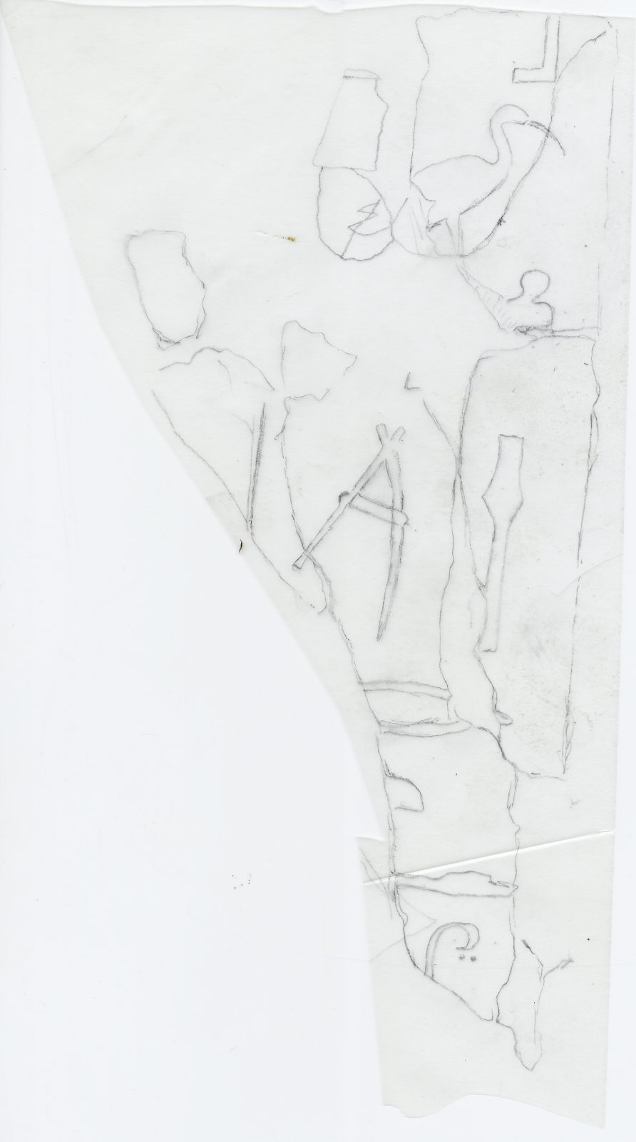 Drawings: G 7510: fragments of alabaster offering basin