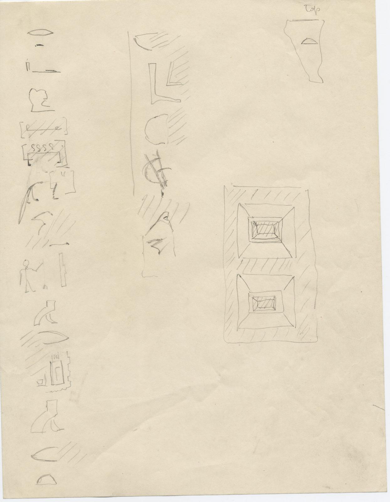 Drawings: G 7510: fragments of alabaster offering basin, inscription