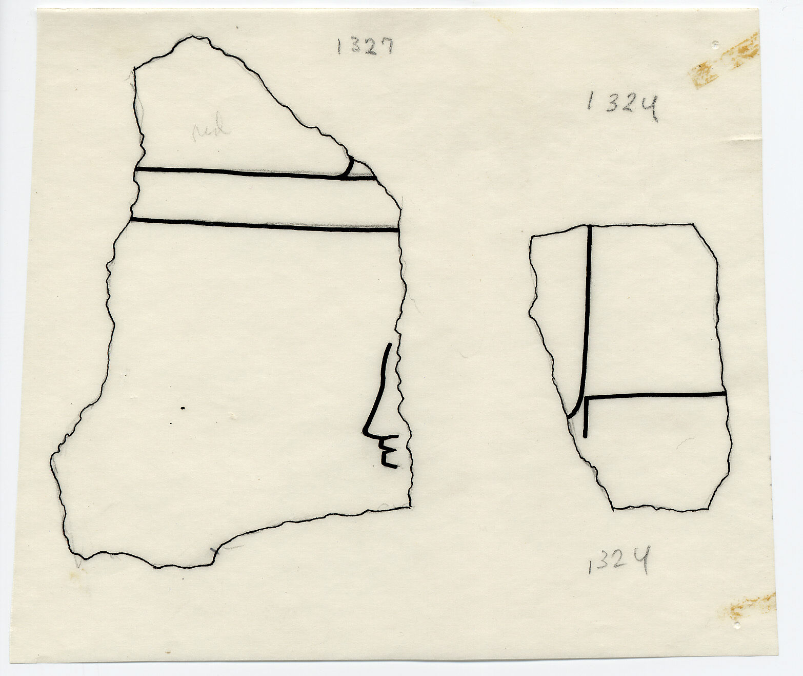 Drawings: G 7410-7420: G 7410: fragments of relief