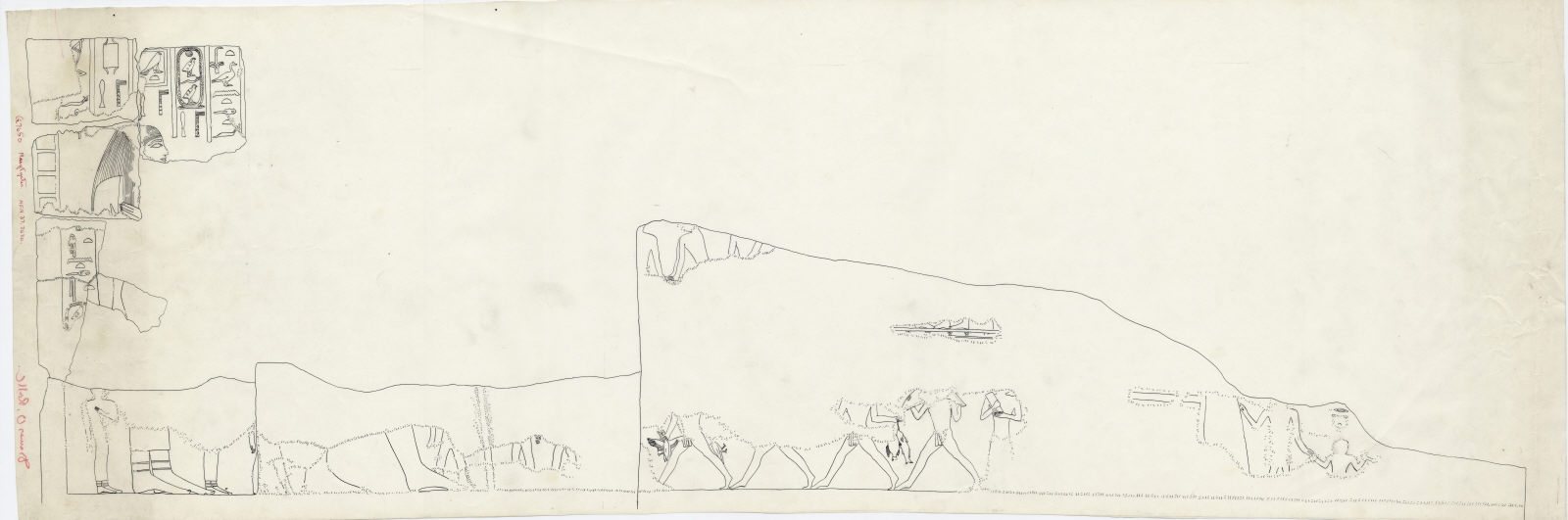 Drawings: G 7650: fragments of relief from E wall, upper part, N end
