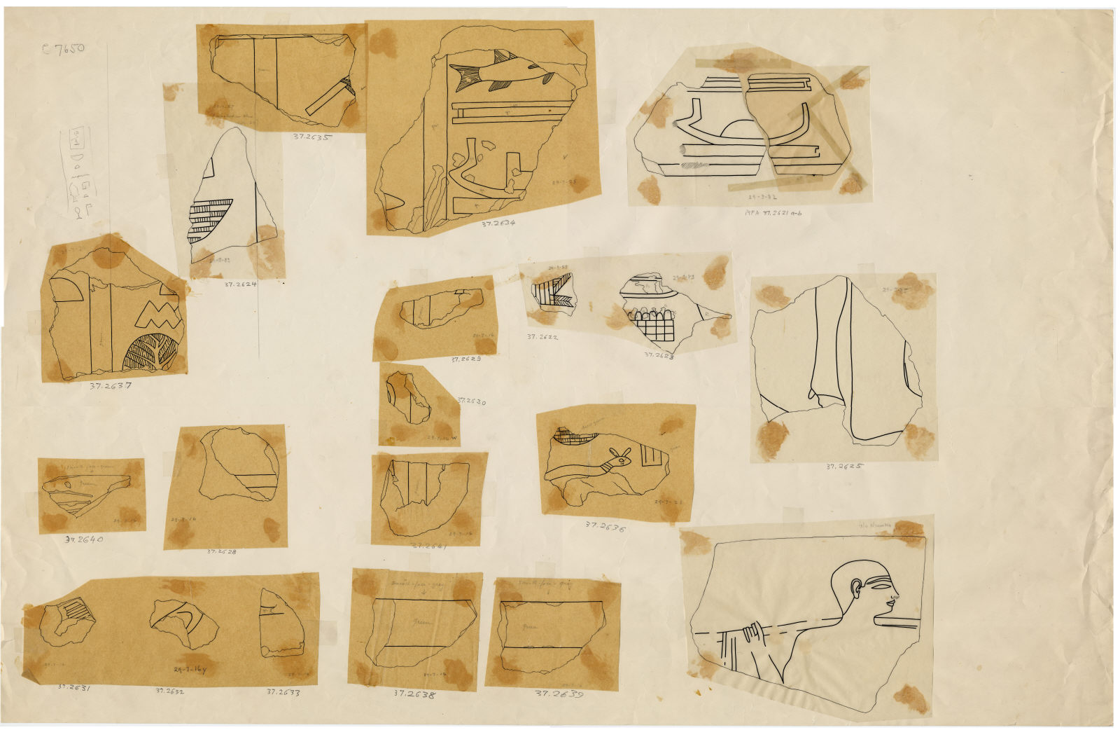 Drawings: G 7650: relief fragments