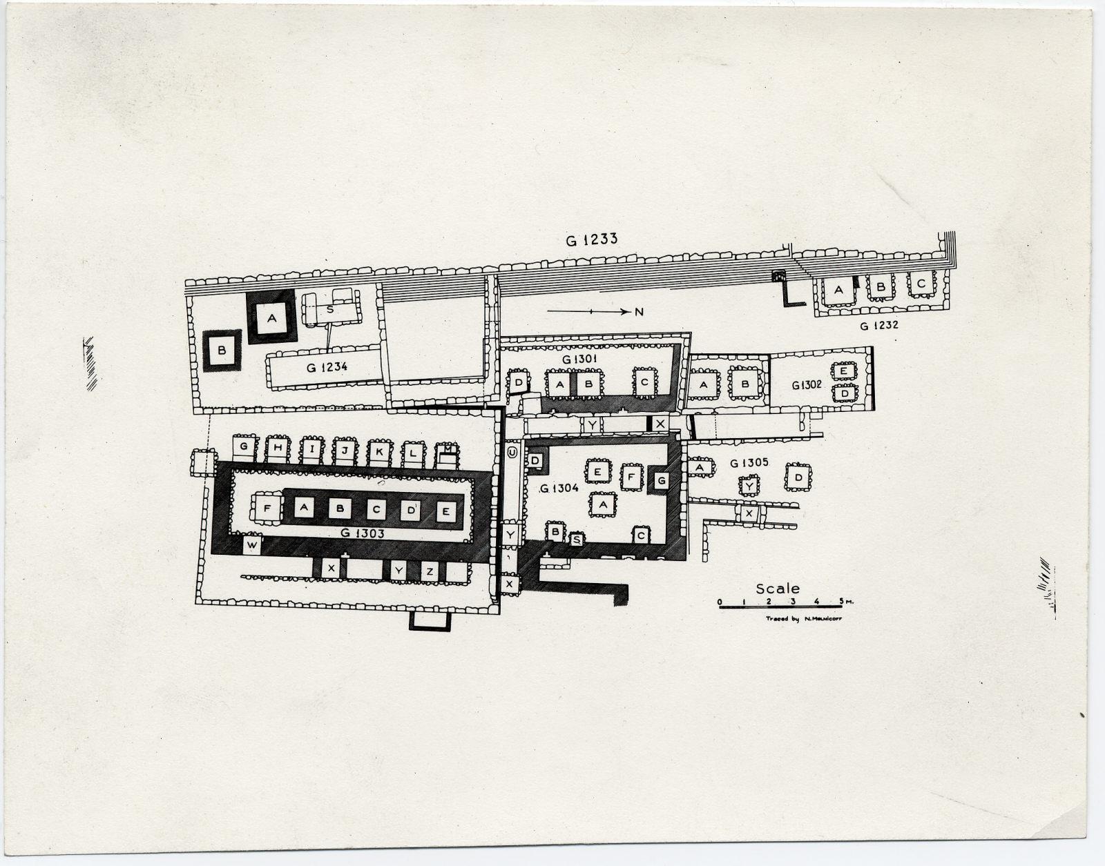 Maps and plans: Plan of G 1232, G 1234, G 1301, G 1302, G 1303, G 1304, G 1305, with positions of G 1233, G 1233-Annex
