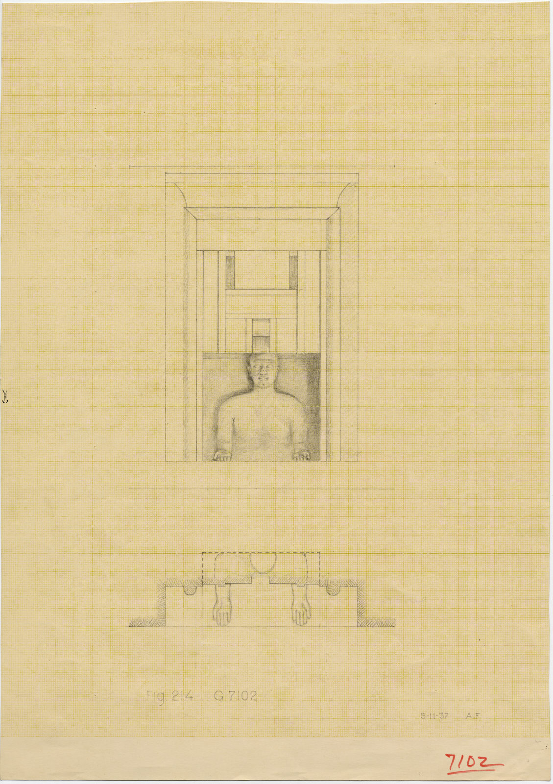 Maps and plans: G 7102: drawing (reconstruction) of false door with statue of Idu