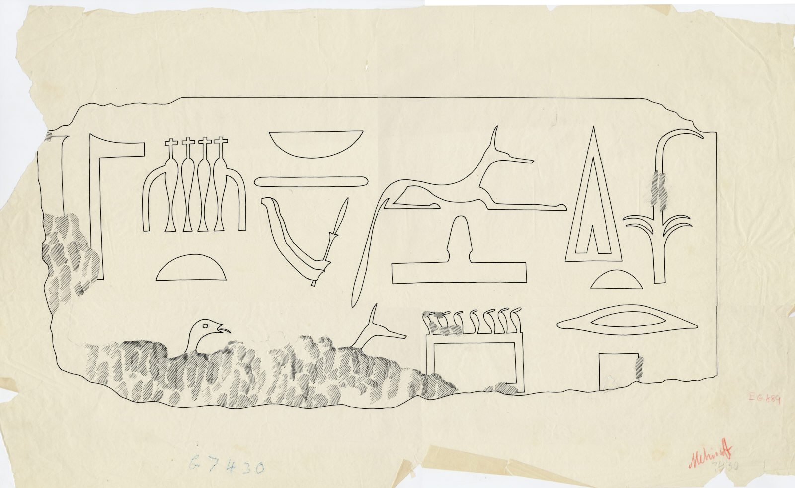 Maps and plans: G 7430: fragment of inscribed architrave