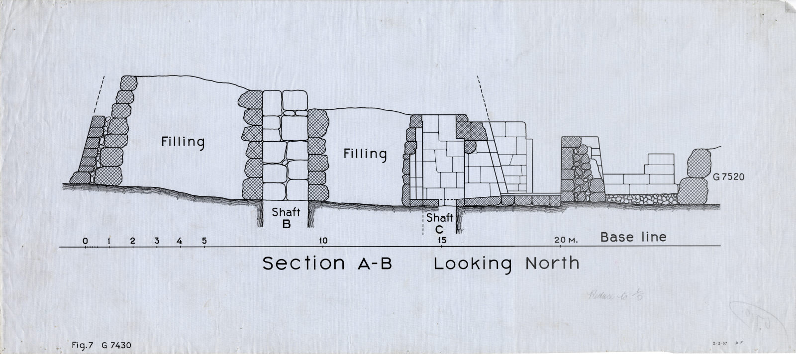 Maps and plans: G 7430, Shaft B and C, with position of G 7520