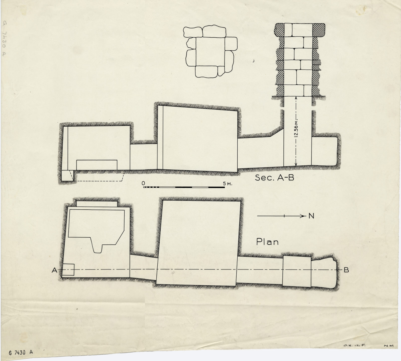 Maps and plans: G 7430, Shaft A