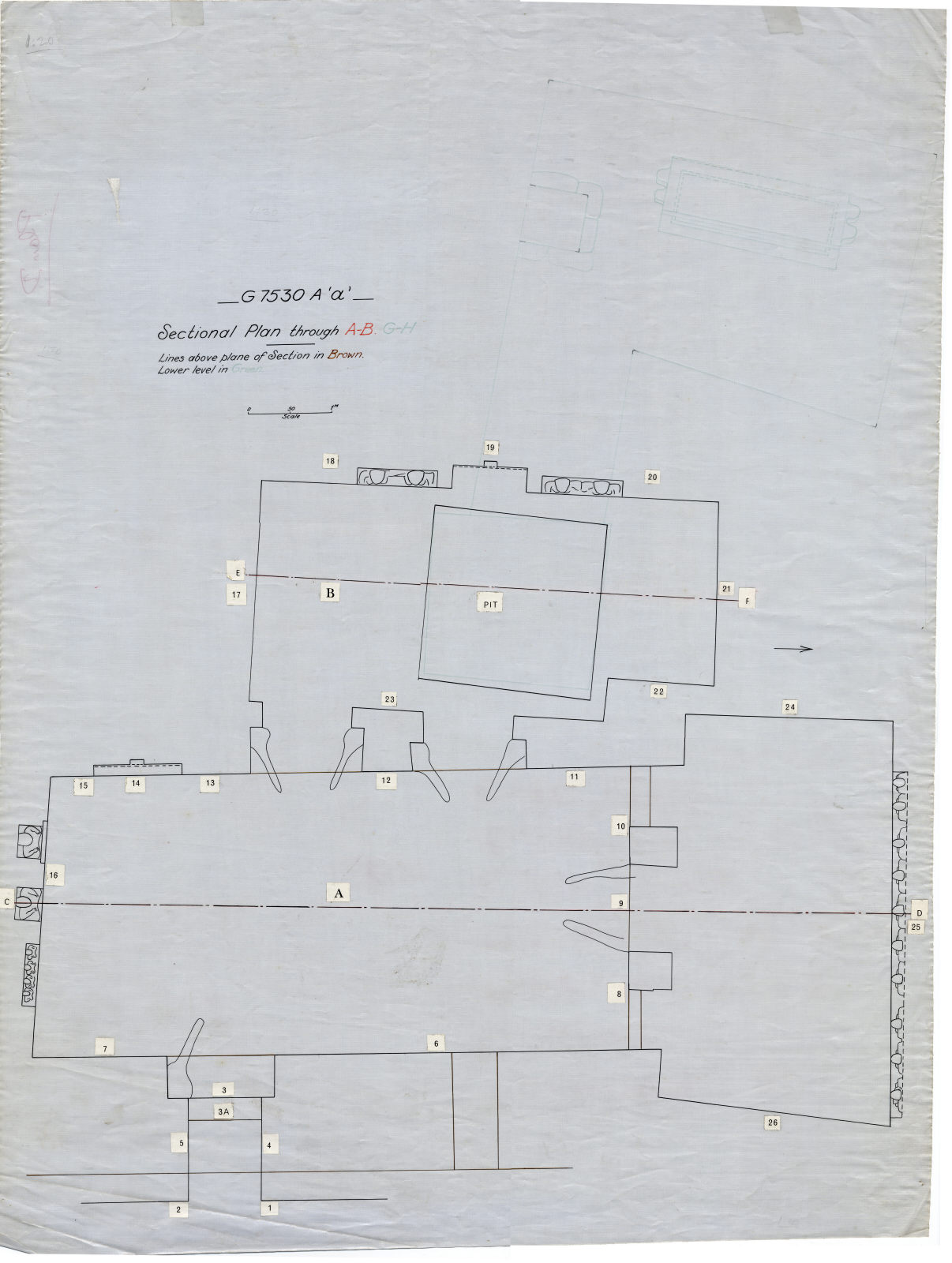 Maps and plans: G 7530, Shaft A, plan