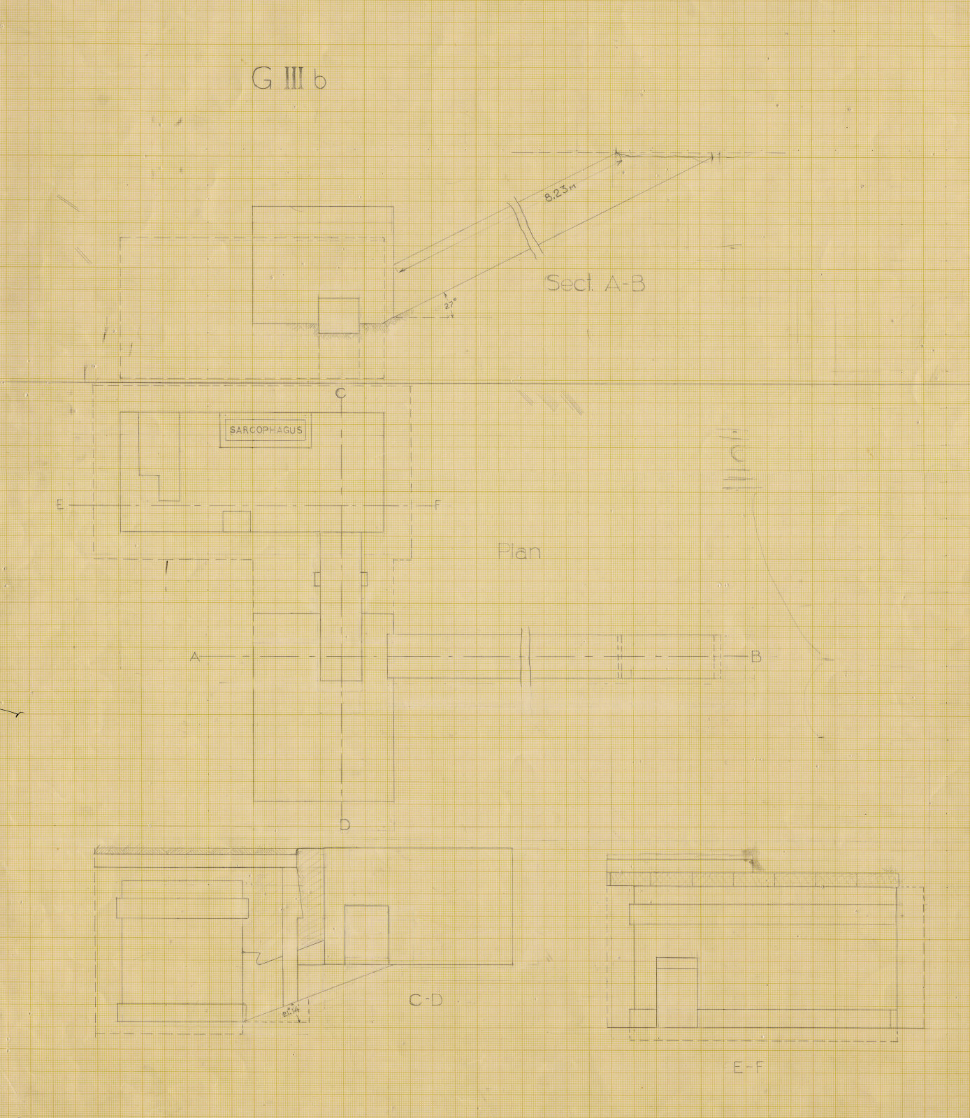Maps and plans: G III-b burial chamber, Plan and sections