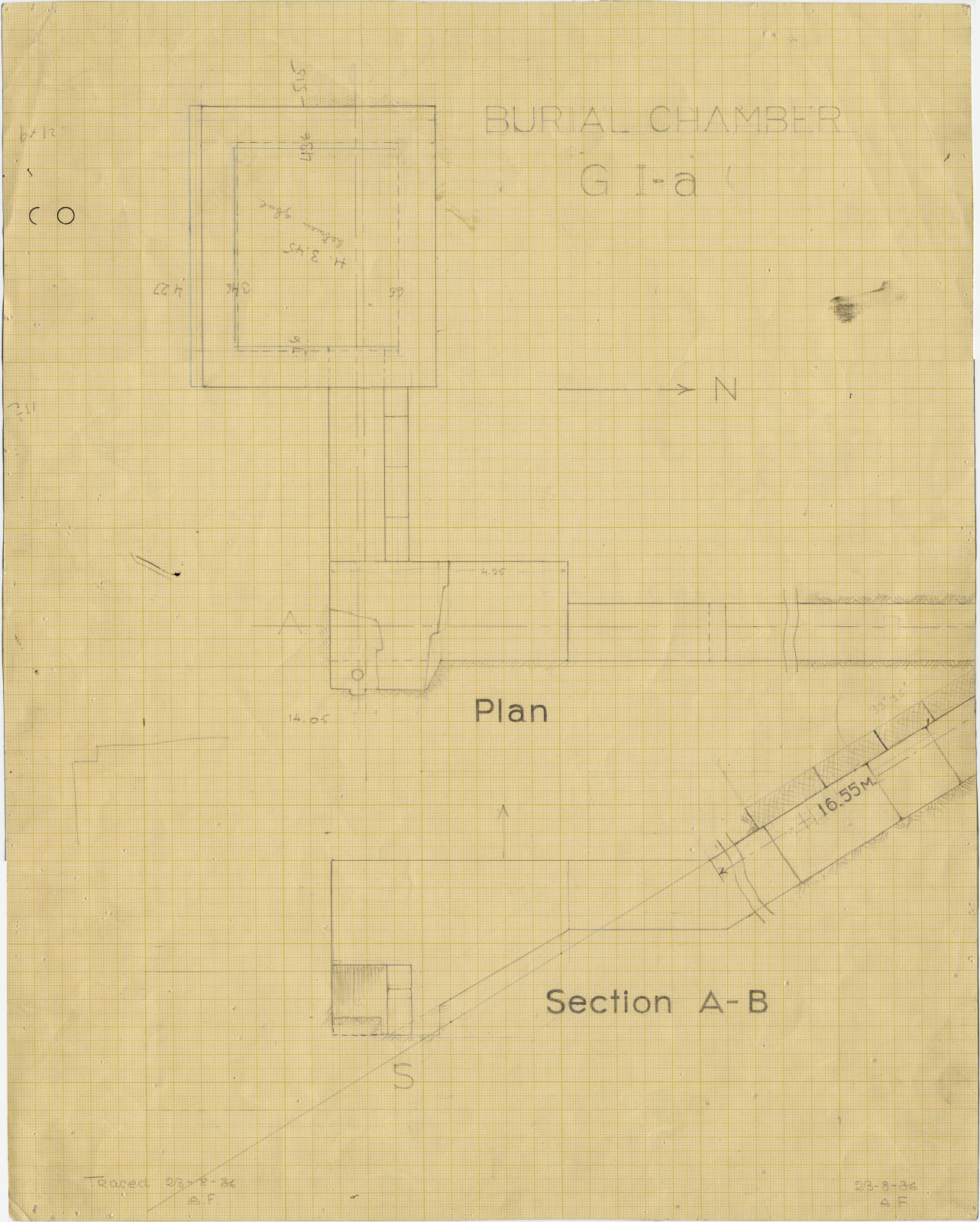 Maps and plans: G I-a burial chamber, Plan and section
