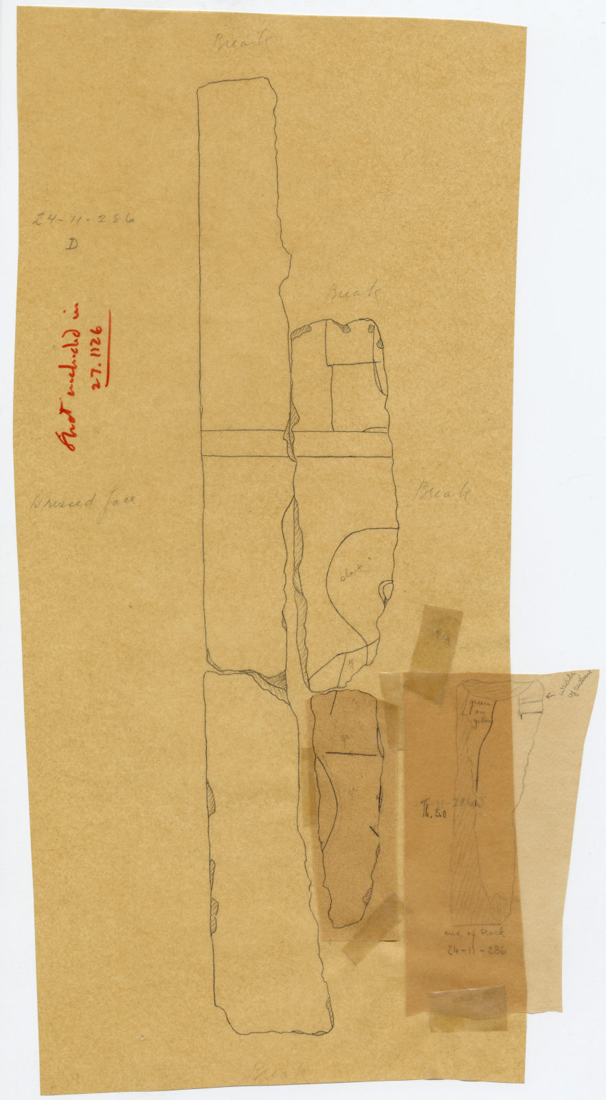 Drawings: Street G 7000 (originally from G I-b): fragments of relief