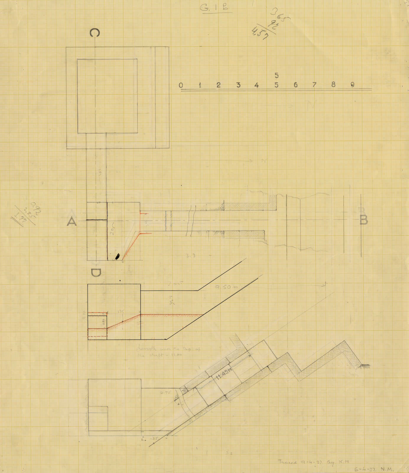 Drawings: G I-b burial chamber, Plan and sections