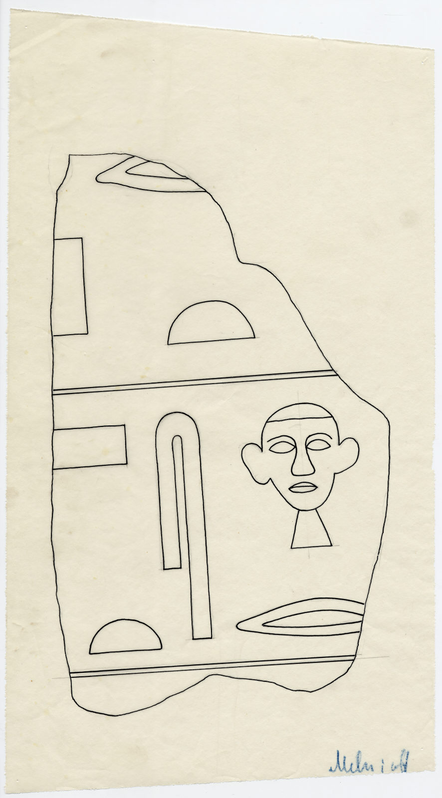 Drawings: G 2424: fragment of lintel of Intef
