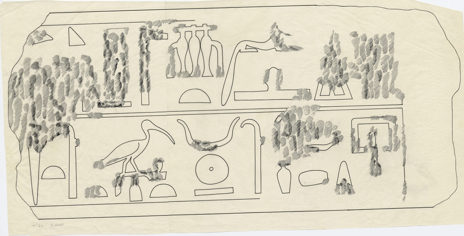 Drawings: Menkaure Valley Temple: block of lintel or architrave of Ireru