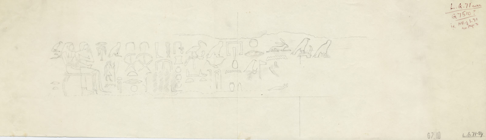 Drawings: Lepsius 71: lintel inscribed for Itisen and Nefret from court, N side