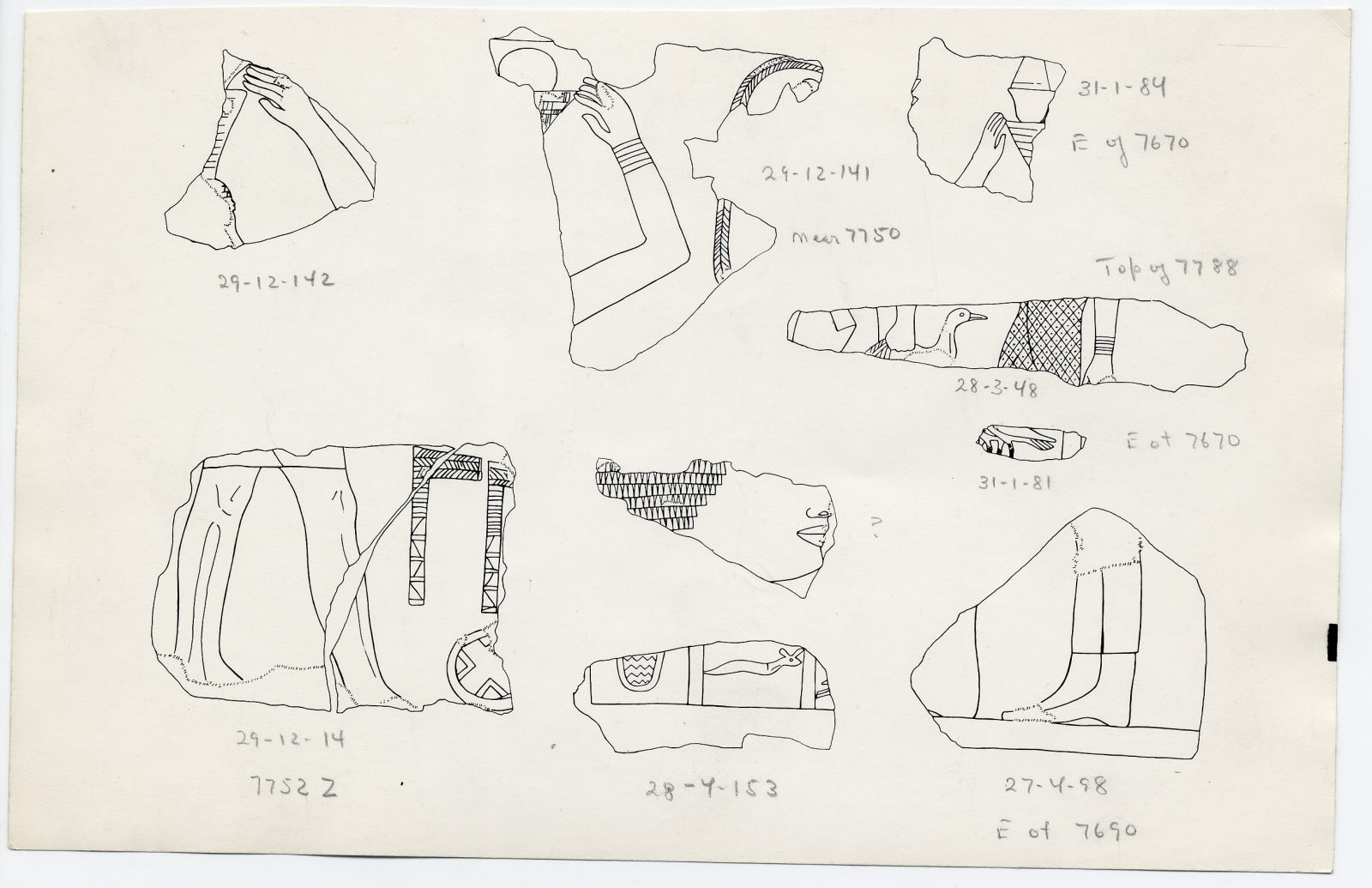 Drawings: Fragments of relief from Street G 7500, G 7650, G 7670, G 7690, G 7752, G 7788