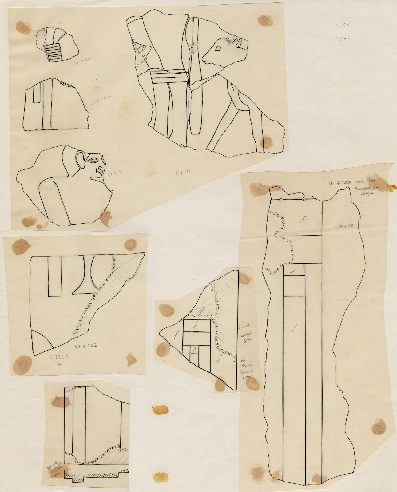 Drawings: Fragments of relief from Street G 7000, G 7530-7540, G 7350
