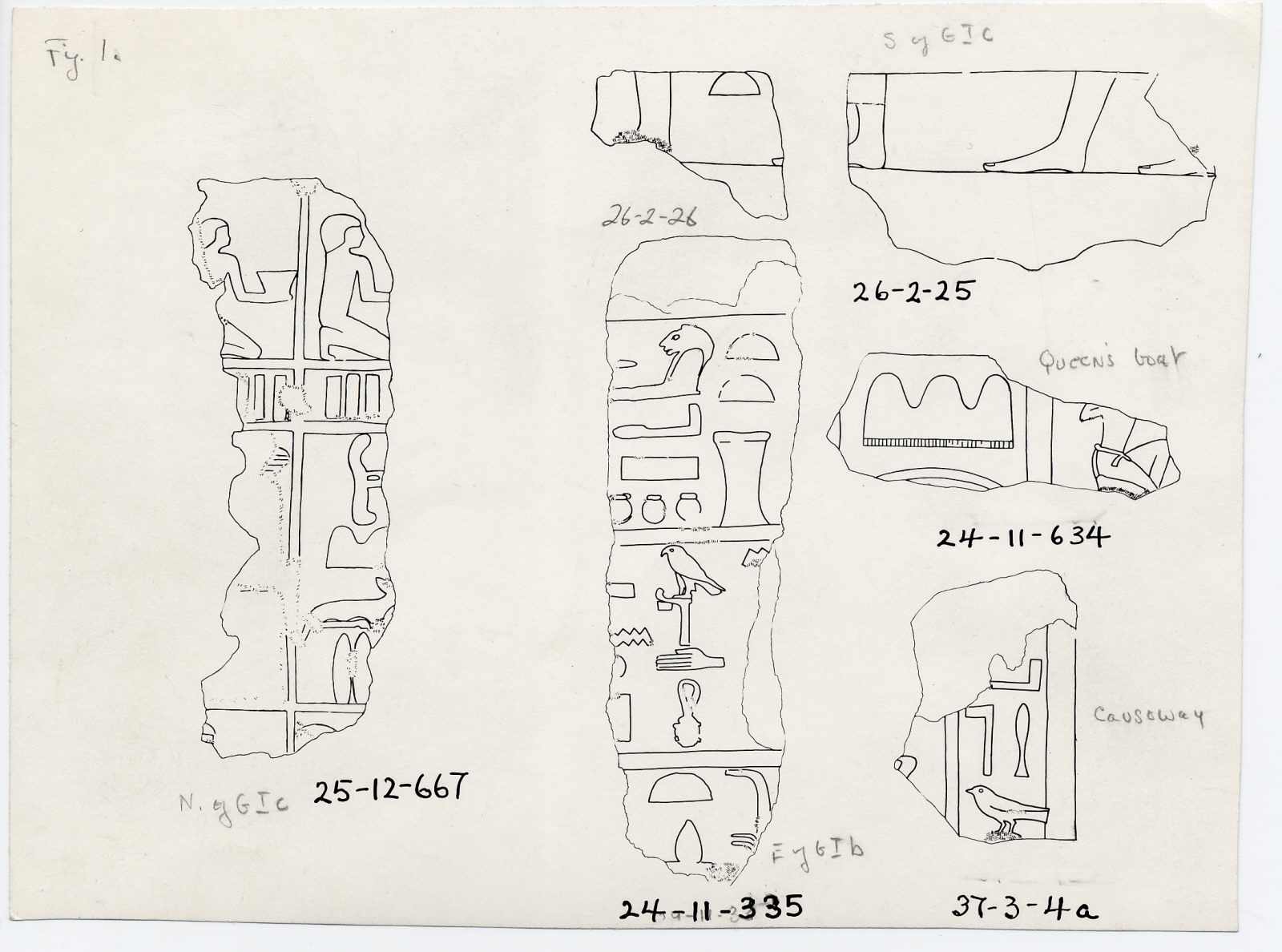 Drawings: Fragments of relief from Avenue G 4, G I-a, G I-a Boat Pit, G I-b, G I-c