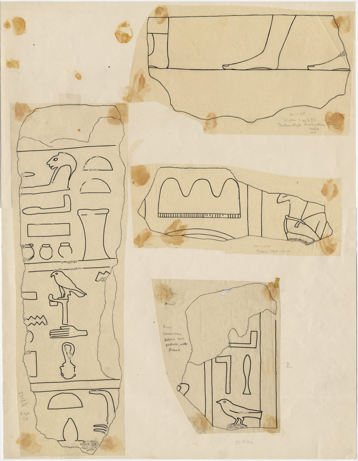 Drawings: Fragments of relief from Avenue 4, G I-a, G I-b, G I-c