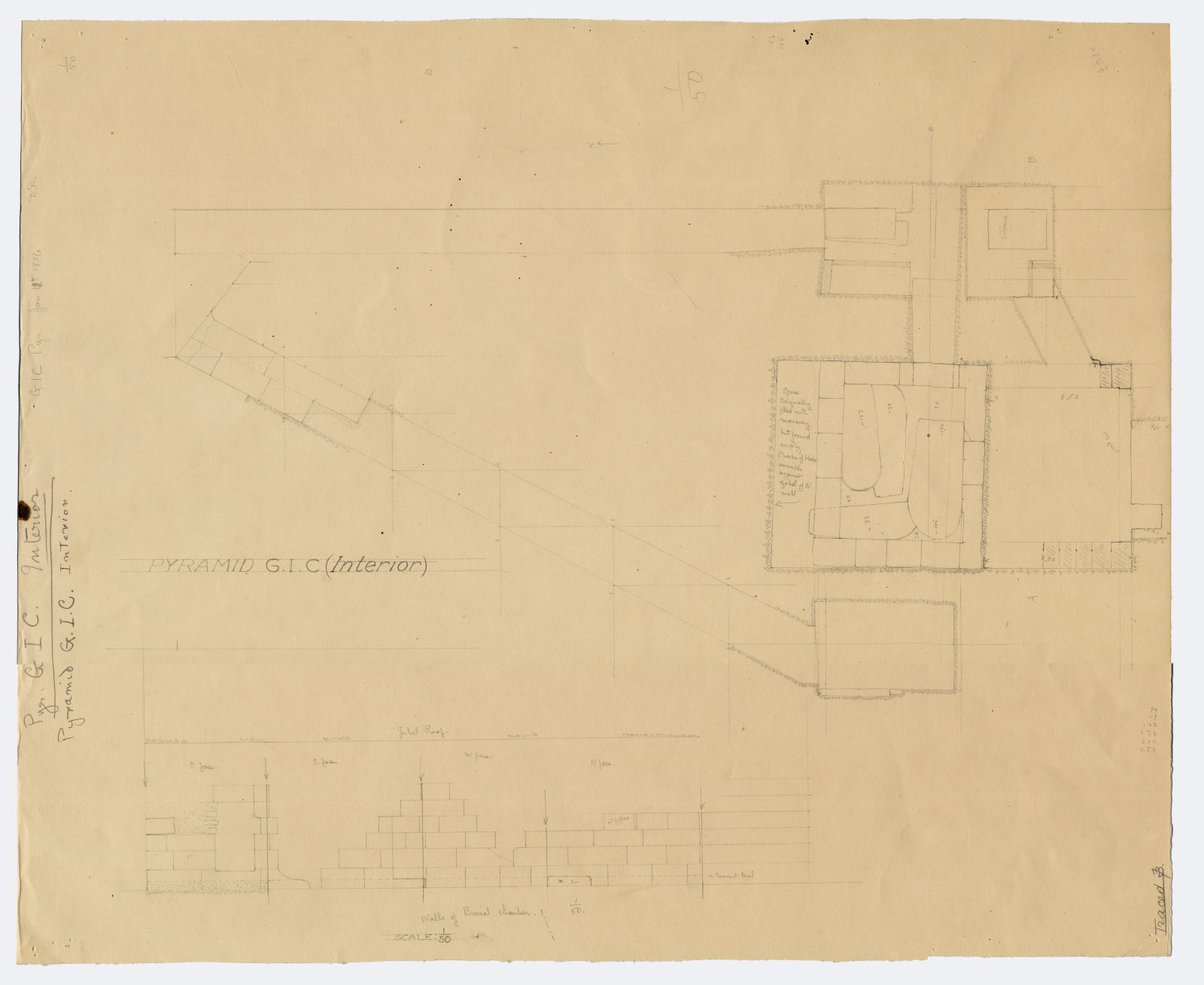 Maps and plans: G I-c burial chamber, Plan and sections