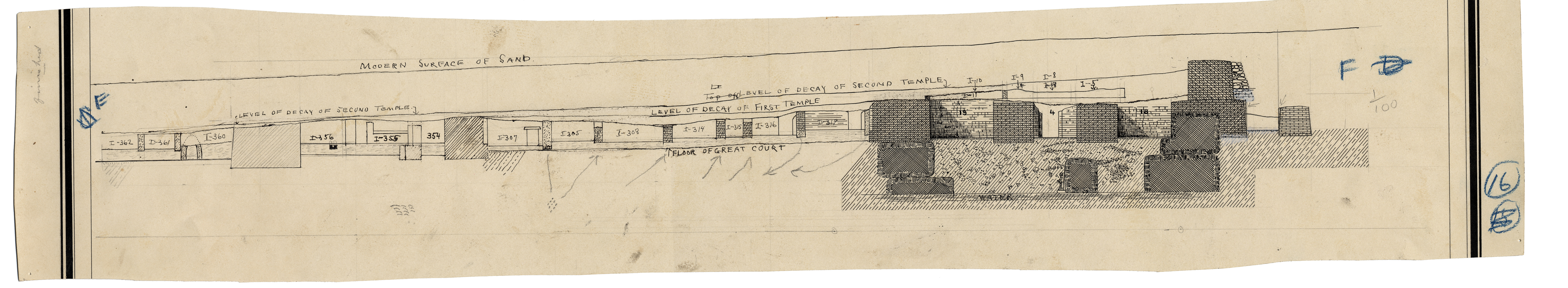 Maps and plans: Section of Menkaure Valley Temple, S side