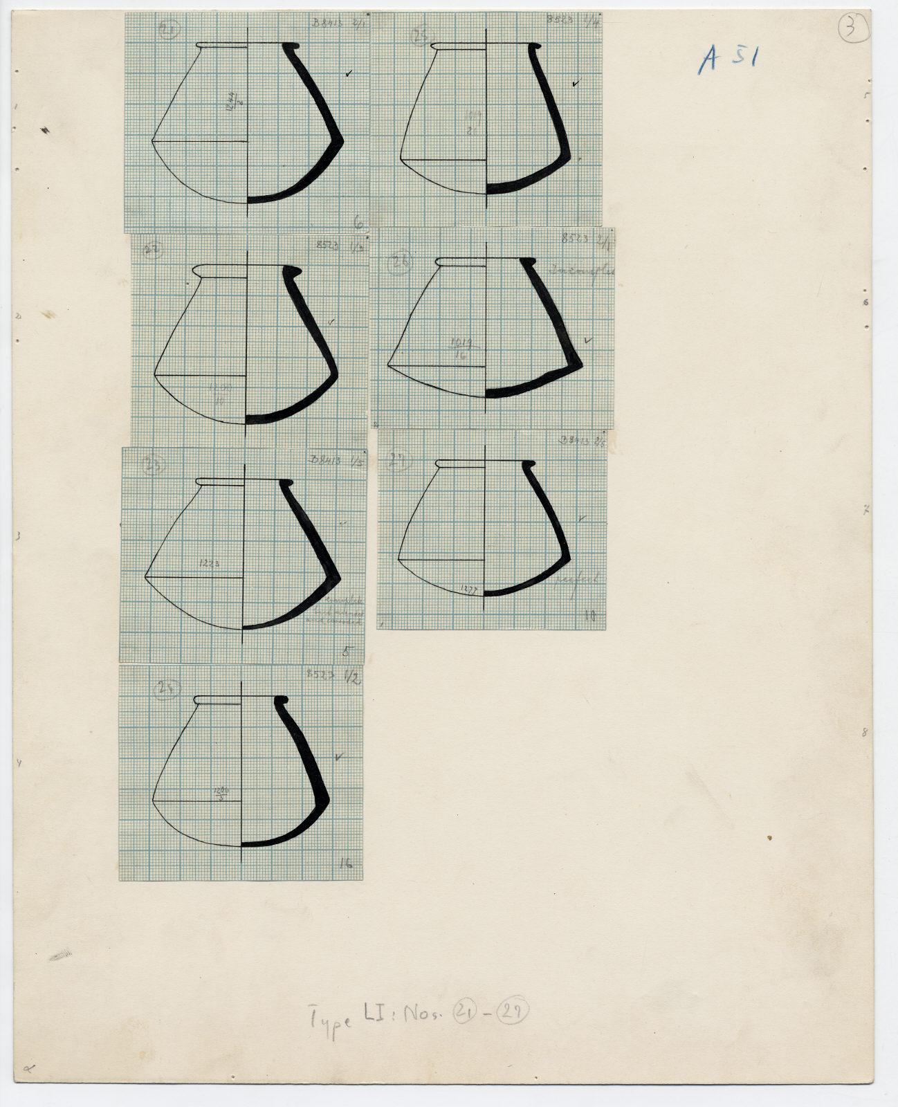 Drawings: G 7000 X: pottery, bag-shaped jars