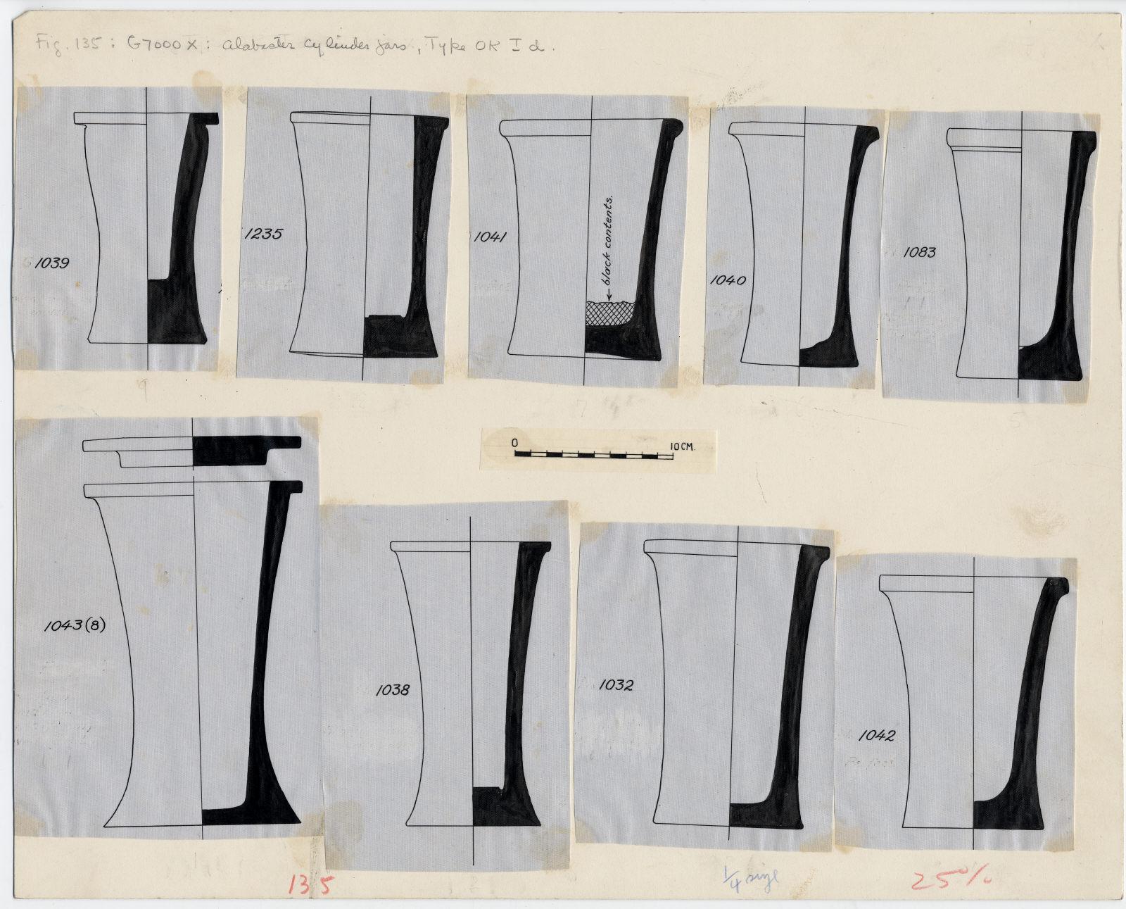 Drawings: G 7000 X: cylinder jars, alabaster