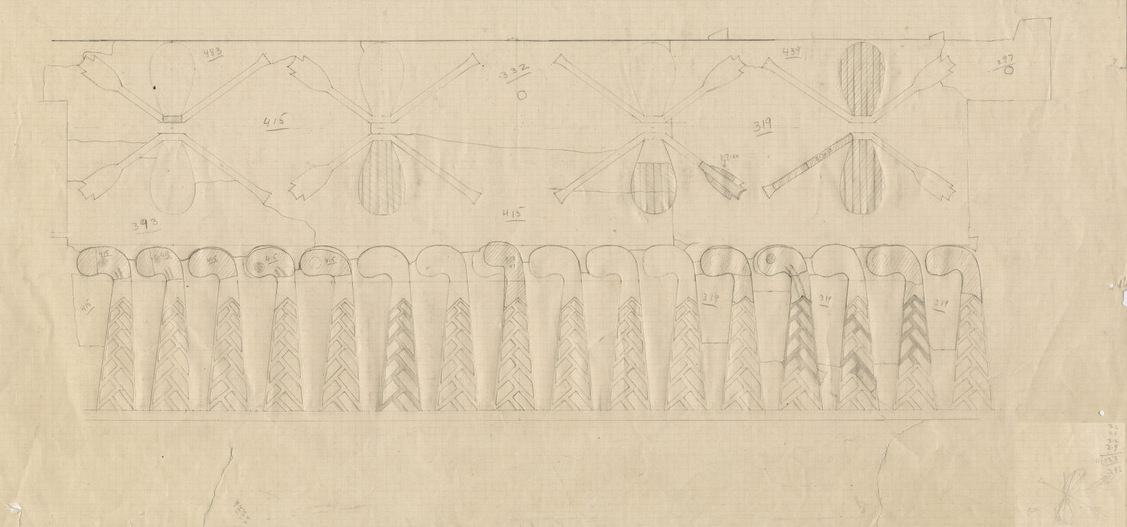 Drawings: G 7000 X: arm chair, detail of falcon and Neith decorative elements