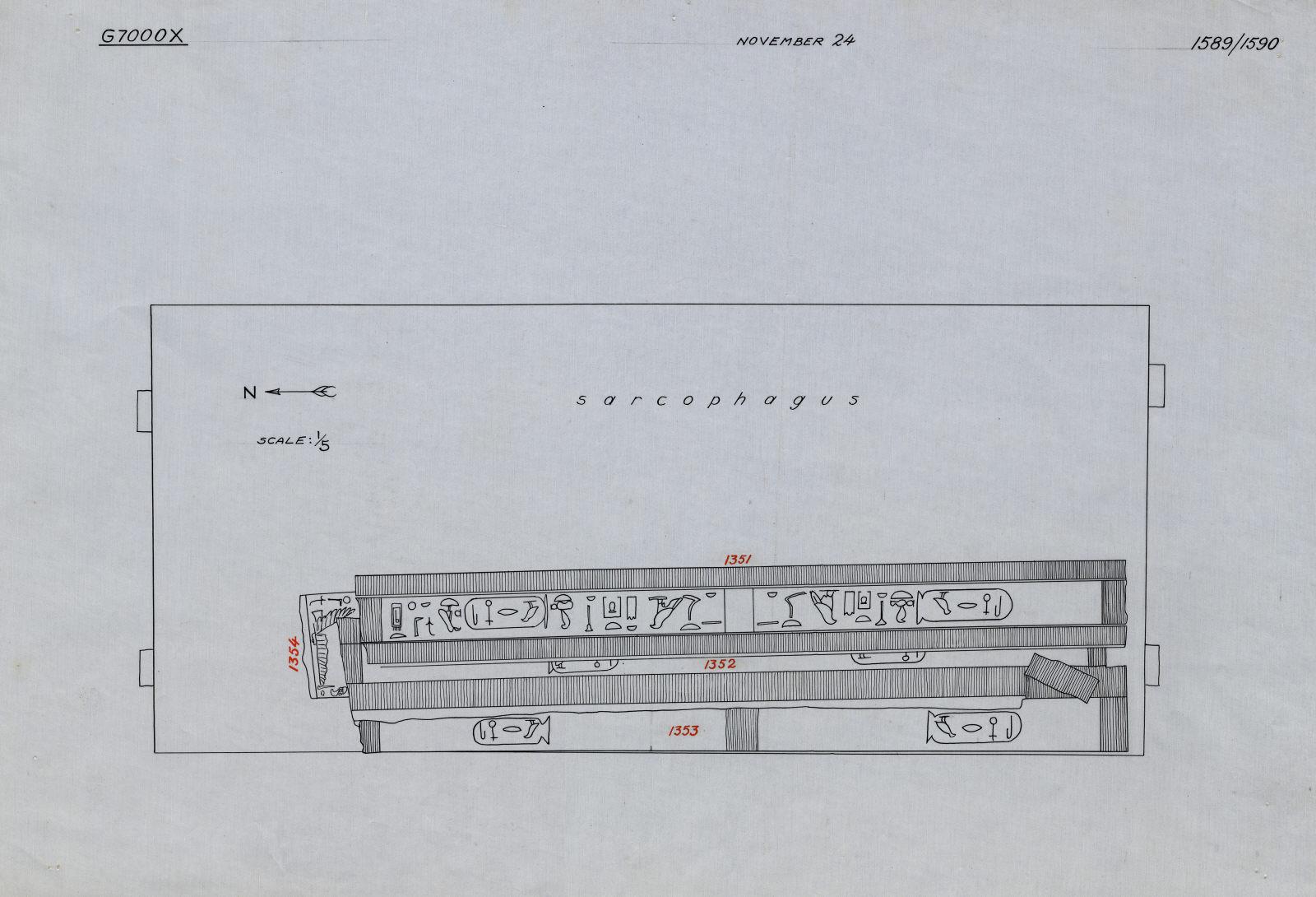 Drawings: G 7000 X: curtain box, inlaid beams, reproduction/restoration